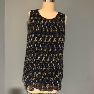 Halogen Navy and Yellow Floral Pleated Top